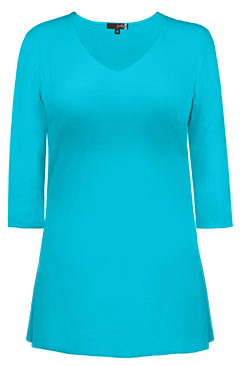 JudyP V Neck 3/4 Sleeve Tunic - Maui Blue
