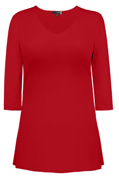 JudyP V Neck 3/4 Sleeve Tunic - Red