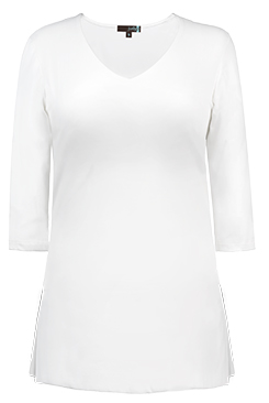 JudyP V Neck 3/4 Sleeve Tunic - White