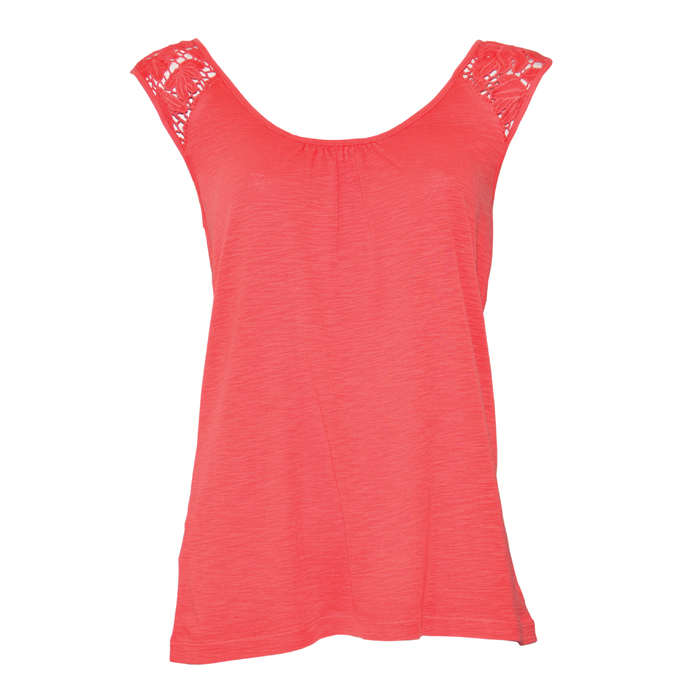 Tommy Bahama Ashby Rib Crochet Top- Bright Coral
