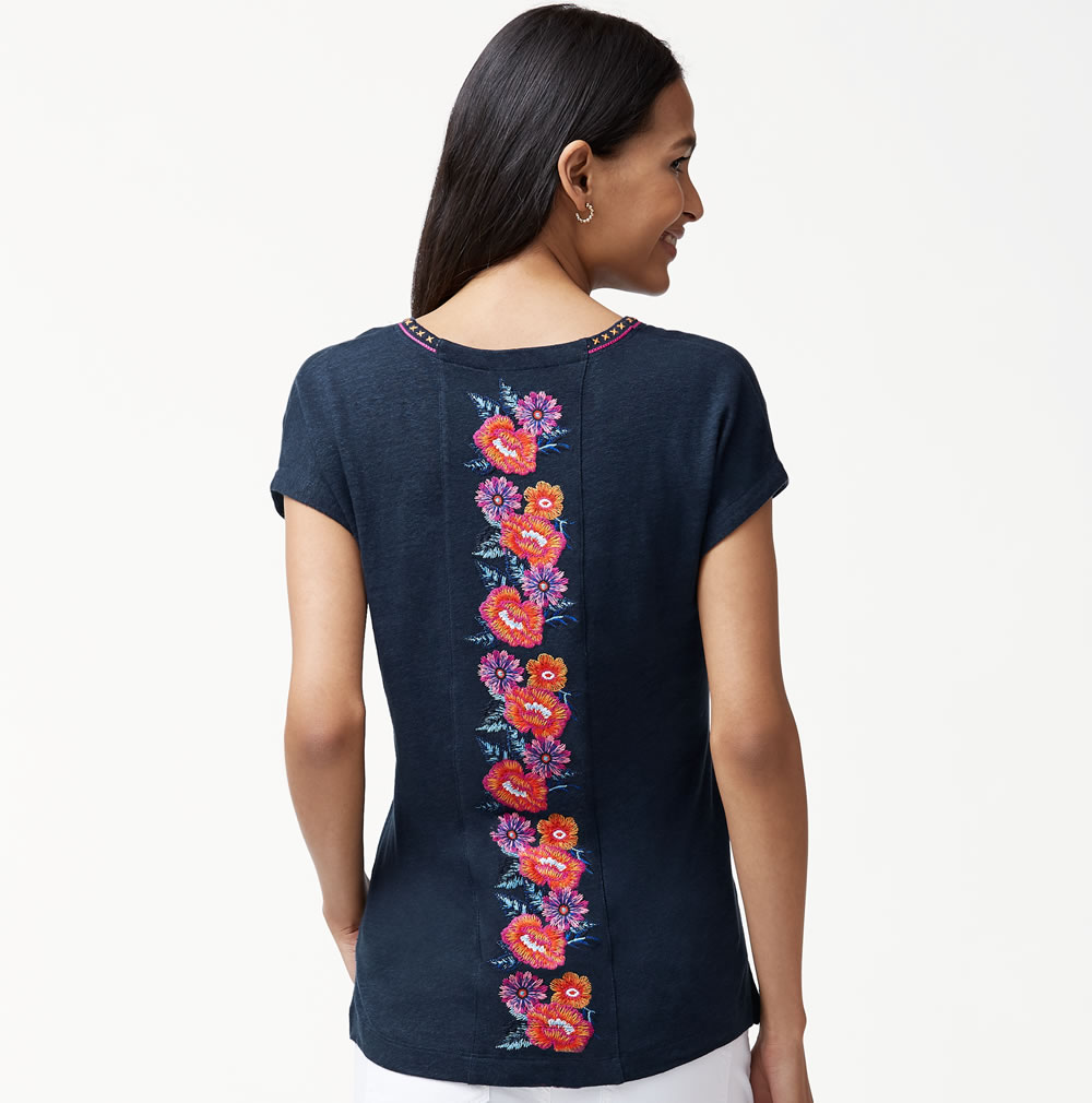 7649b6f3 Tommy Bahama Linnea Frieda Floral Embroidered Linen Top [TW217442 ...